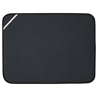 Envision Home 18-Inch by 24-Inch Microfiber Dish Drying Mat, X-Large, Black