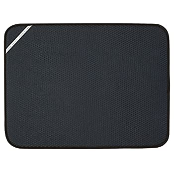Envision Home 432801 Absorbent Reversible Microfiber Dish Drying Mat for Kitchen X-Large 18 Inch x 24 Inch XL Black