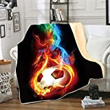 Soccer Red Flame Flannel Fleece Throw Blanket,SKOLOO 3D Printed Warm Fluffy Cozy Soft TV Bed Couch Sport Fans Boys Teens Gift Blanket Comfy Microfiber Velvet Plush Throw,60' x 80'