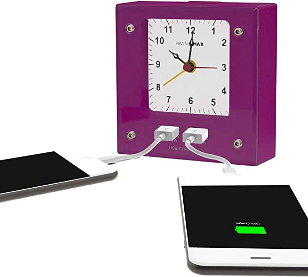 HANNLOMAX HX 701C Analog Alarm Clock Non Ticking Silent Clock Movement Night Light 2 USB Ports For Charging Purple