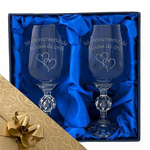 The Engraving Gallery 50 Aniversario de Bodas de Oro, un par de Copas de Vino de Cristal en una Caja de presentación. Grabado Profesional Mente. Incluye Regalo y Cinta 50 Aniversario Oro, 50º