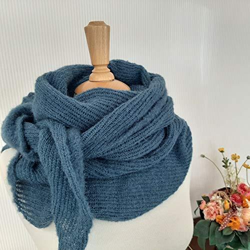Tuch scarf Schal Schultertuch blau Alpaka Seide alpaca silk gestrickt knitted Damen Mädchen
