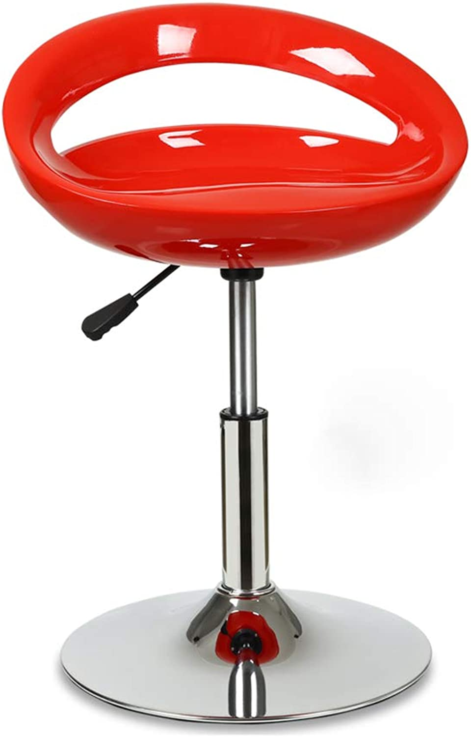 MEIDUO Bar stools Barstools, Counter Height Bar Stools Swivel Bar Stool Adjustable Bar Chair Gloss Finish Crescent Shape ABS in 9 colors (color   RED)