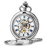 ManChDa Reloj de Bolsillo Retro Suave Clásico Mecánico Hand-Wind Reloj de Bolsillo Números Romanos Steampunk Reloj Fob para Hombres, Mujeres con Cadena + Caja de Regalo