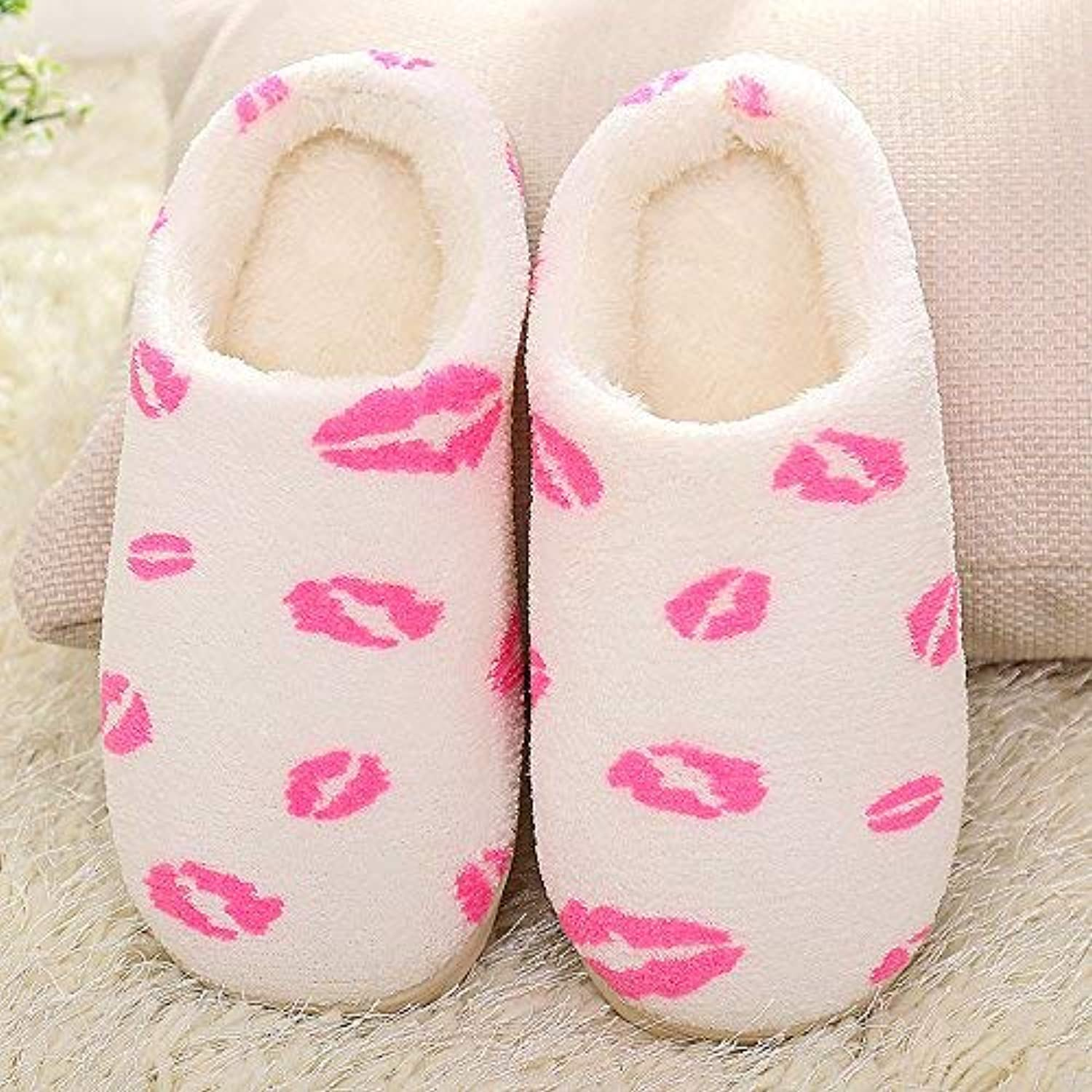 GouuoHi Womens Slippers Women 's Home Cotton Slippers Indoor Keep Warm Casual Slippers Mixed color Black White Pink Personality Quality for Women