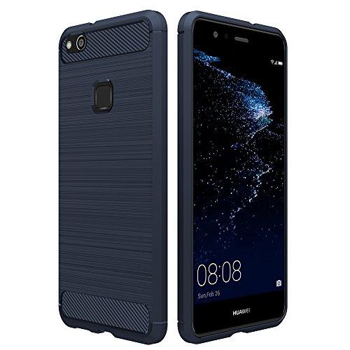 Simpeak Huawei P10 Lite 対応 ケース ラギッド P10 ライト 適応 炭素繊維カバー TPU保護バンパー 弾力性付き (ダークブルー)