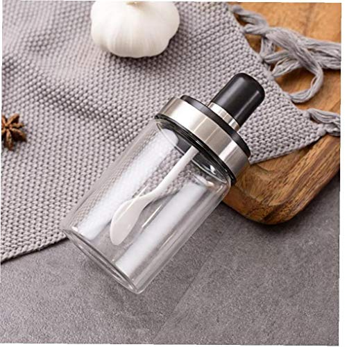 Case&Cover 1pc Spice Box Condimento Container Condimento di Sale Conservazione in Bottiglia di Vetro Vasi della Spezia Sealed Pentola con Cucchiaio Serbatoio