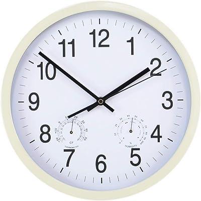 KKZHMI Reloj de pared silencioso para Interior y Exterior, 11.8 in, termómetro e higrómetro