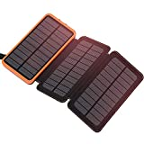 Solar Charger 24000mAh, FEELLE Solar Power Bank with High-Efficiency Foldable Panels and Flashlight,...