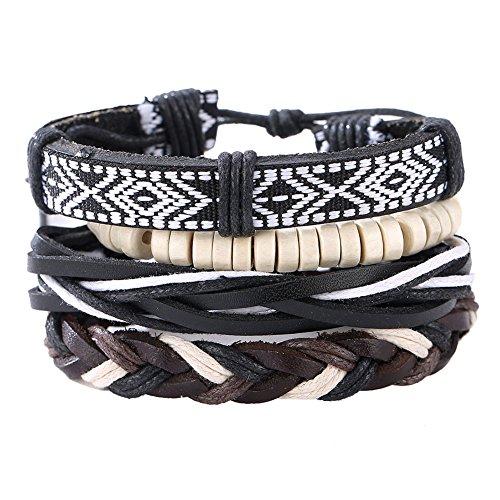 Diamondo Woven Leather Bracelet Fashion Men Multilayer Leather Rope Adjustable Wrap