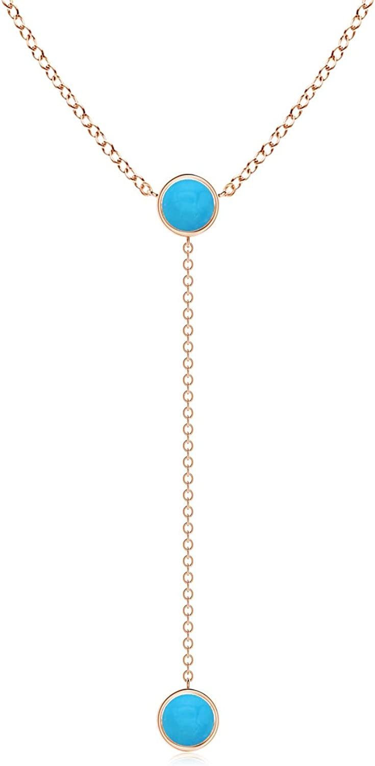 Bezel-Set Round Turquoise Sacramento Mall Lariat Style Max 81% OFF Gold in Rose Necklace 14K