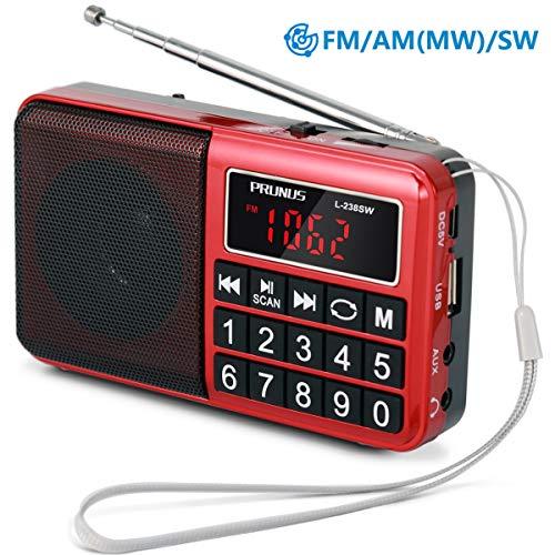 PRUNUS L-238SW Portables Radio UKW FM/AM(MW)/SW/MP3/USB/SD/TF –Große gummierte Knöpfe – großes Display (Keine manuelle Einsparung/Entfernung von Radio Station-Funktion)