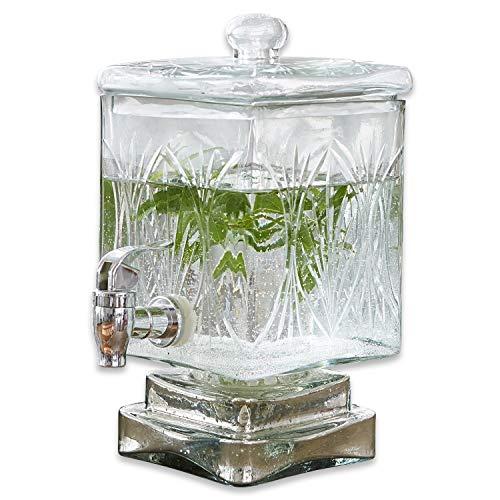 Loberon Getränkespender Logan, Glas/Kunststoff, H/B/T ca. 26,5/19 / 14,5 cm, klar, klar