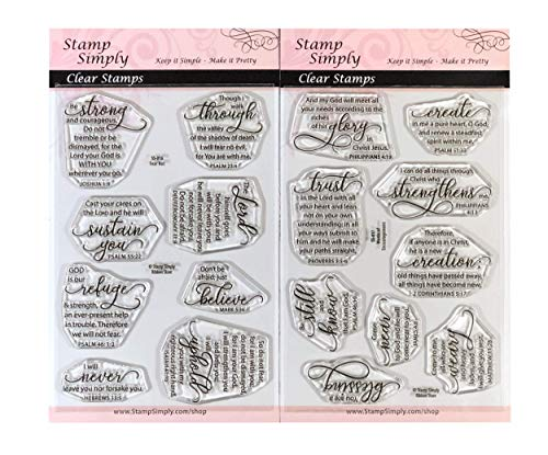 Stamp Simply Clear Stamps Fear Not and Words of Encouragement Christian Religious (2-Pack) 4x6 Inch Sheets - 17 Pieces