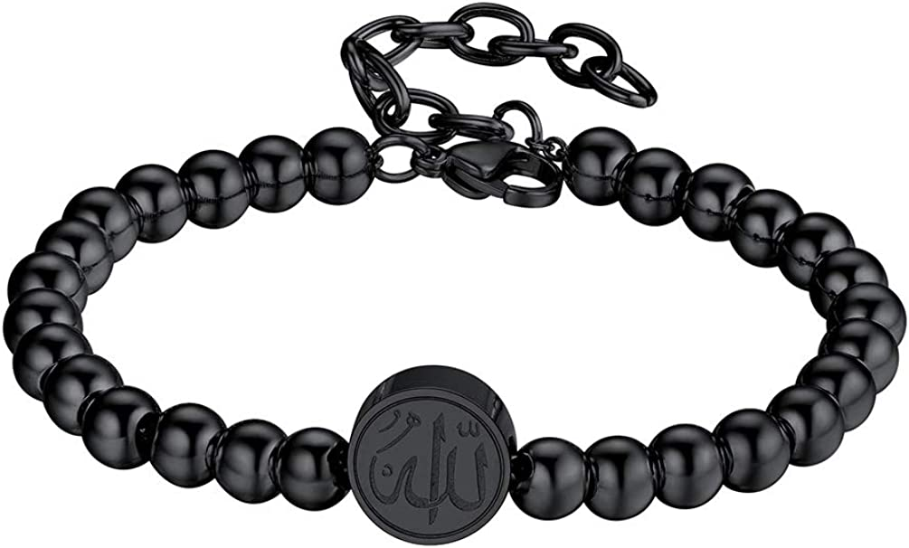 PROSTEEL Allah Bracelet, Muslim Islamic Jewelry Religious Islam Arabic God Charm Stainless Steel Beads Chain Bracelet, fits Wrist from 5.9'' to 7.9'', Come Gift Box