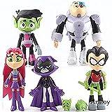 WXxiaowu Dibujos Animados Teen Titans Go Figuras de acción Robin Cyborg Beast Child Starfire Crow Silkie PVC Coleccionables Juguetes para niños Regalos 7pcs / Set
