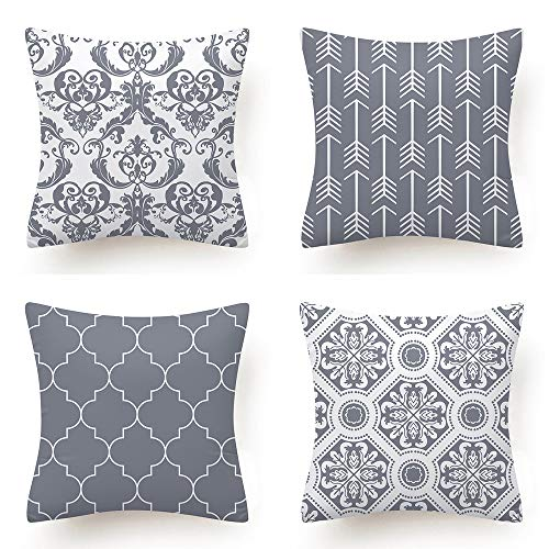 Set of 4 Decorative Square Throw Pillows Covers Geometric Design Cushion Cover for Bedroom Sofa Living Room, 18'x18'