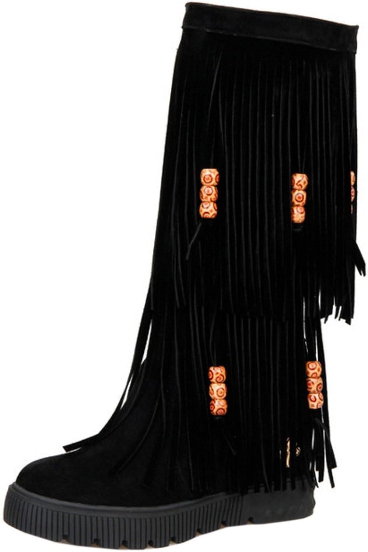 RizaBina Women Mid Heel Fringe Boots Pull On