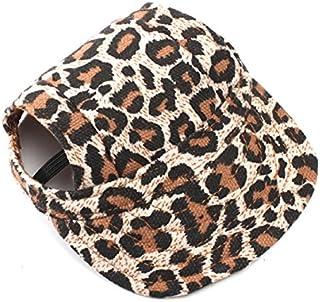 UEETEK Perro de animal doméstico lona sombrero deportes gorra de béisbol con agujeros de oreja para perros pequeños - tamaño S (leopardo)