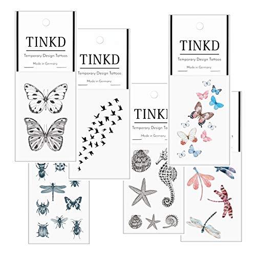 TINKD Aufklebe-Tattoos Set - Schmetterling - Libelle - Vögel - Käfer - Spinnen - Made in Germany