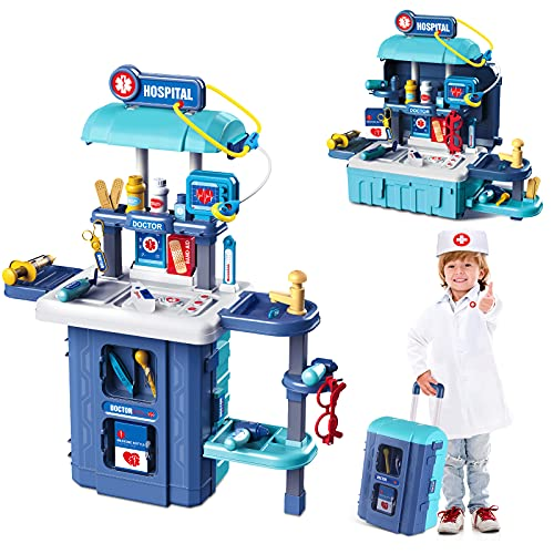 iBaseToy Doctor Kit for Kids - 40 Pcs Doctor Kit Pretend Playset Including Electronic Stethoscope & Doctor Coat,3 in 1 Educational Toy Doctor Kit - Great Gift for Toddlers Ages 3+