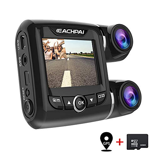 EACHPAI Car Dash Cam,Dual Dash Cam FHD 1080P+1080P Front and Rear View 2' LCD 140 Degree Wide Angle Super Capacitor Dashboard Camera Recorder with Sony Exmor Video Sensor, G-Sensor, Loop Recording,GPS