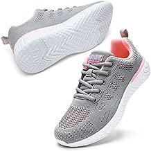 STQ Tennis Shoes for Women Lightweight Gym Workout Sneakers Mesh Running Shoes 8.5 Light Grey/Pink