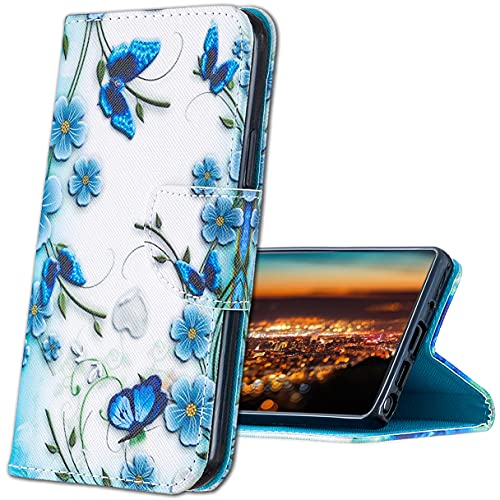 MRSTER Xiaomi Mi A1 Hülle Leder, Langlebig Leichtes Klassisches Design Flip Wallet Hülle PU-Leder Schutzhülle Brieftasche Handyhülle für Xiaomi Mi A1 / Xiaomi Mi 5X. HX Blue Butterfly