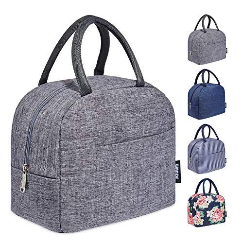 WANDF Bolsa isotérmica para el almuerzo, ligera, bolsa de pícnic, bolso de mano para el trabajo, la escuela, los niños, el bebé, mejora el aislamiento (gris)