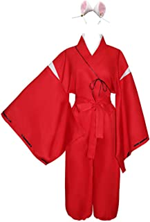 HappyBus Inuyasha Cosplay Inuyasha Costume with Inuyasha Ears Halloween Costume Anime Cosplay