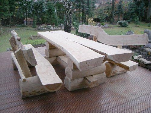 RUSTIKALE SITZGARNITUR AUS NADELHOLZ/Deutsche Handwerksqualität / 2m- Länge/Sitzkapazität für 8 Personen/Jede Sitzgruppe ist ein Unikat / 500 kg