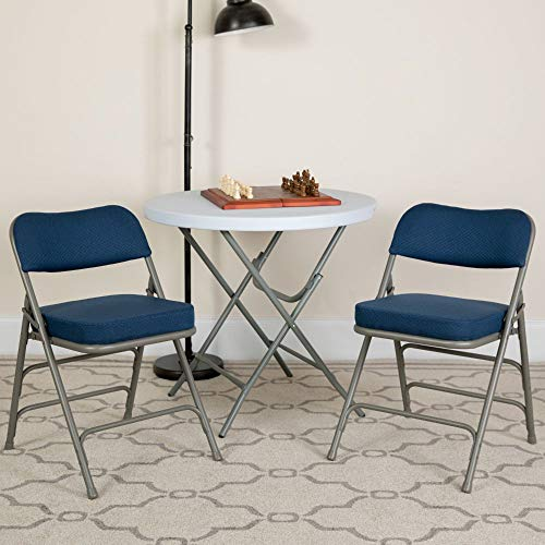 Flash Furniture HERCULES Series Premium Curved Triple Braced & Double Hinged Navy Fabric Metal Folding Chair