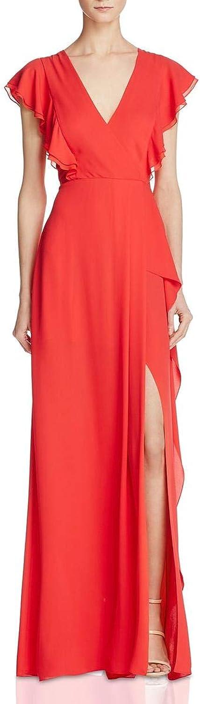 BCBG Max Azria Womens Callie Ruffled Surplice Evening Dress
