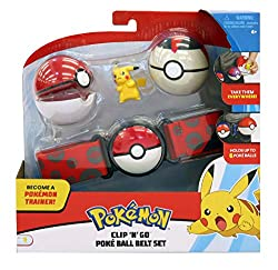 The set includes one adjustable belt, 2 Poké Balls and one Pikachu figure Each belt holds up to six Poké Balls at once. Additional Poké Balls and figures sold separately. Can you collect them all? Suitable from 4 years.