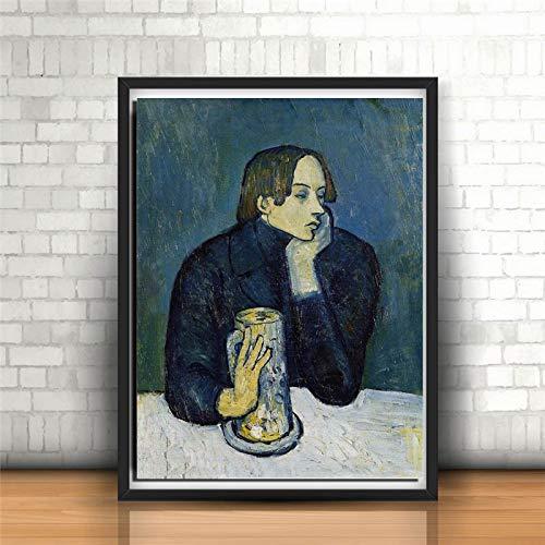 YuanMinglu Famoso Pittore Tela Ritratto Stampa Camera da Letto Decorazione della casa Moderna Pittura a Olio Wall Art Poster Pittura Frameless 60x75 cm