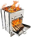 Lixada Camping Wood Stove Folding Stainless Steel Stove Grill Portable Backpacking Stove Alcohol Burn Stove with BBQ Grill Storage Bag (Type1)