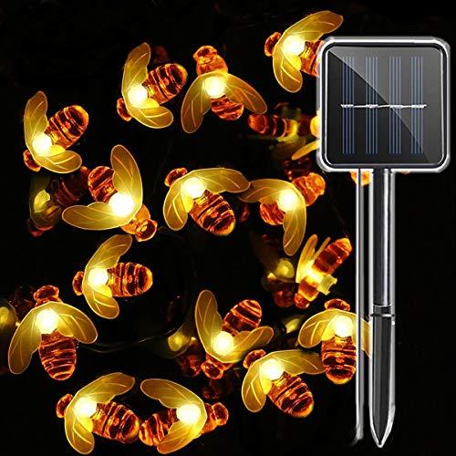 30 LED Funciona con energía solar abeja Luz al aire libre, Impermeable Hada Luces de cadena, Decoracion para Jardín, valla de flores, Patio, Césped, árboles, Fiesta, Hogar, Navidad (Blanco Cálido)