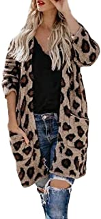 DealinM ?? Women's Tops,Women's Fashion Collarless Pocket Leopard Printed Comfortable Keep Warm Outerwear Tops Coat