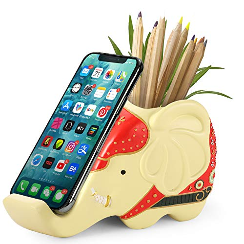 Elephant Pencil Holder with Phone Stand, AhfuLife Resin Carving Elephant Gifts for Women, Multifunctional Pen Pot Office Desk Decoration Stationery Supplies Organizer