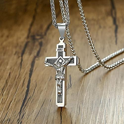 ShSnnwrl Collar Colgantes góticos de la Cruz de Jesús para Hombres, Collar, crucifijo de Acero Inoxidable, oración del Señor, joyería relig