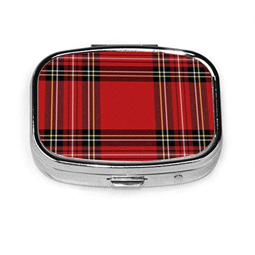 Navidad Año Nuevo Tartán Plaid Escocés Moda personalizada Plata Cuadrado Caja de pastillas Medicina Tableta Titular Cartera Organizador Cas