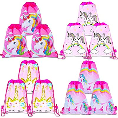 Fande - Bolsa de regalo de unicornio, bolsa de cordón, mochila de unicornio, bolsa de gimnasio, para niños, niñas, regalo para fiestas, cumpleaños, 12 unidades