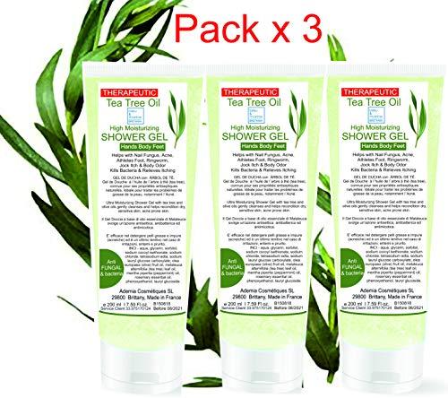 Gel desinfectante antibacteriano GEL DE DUCHA (Pack X 3) Ultra Hidratante Terapéutico concentrado en Aceite Esencial de Árbol de Té Purificante Anti hongos Anti Acné Ge de Baño (3 X 200 ml)