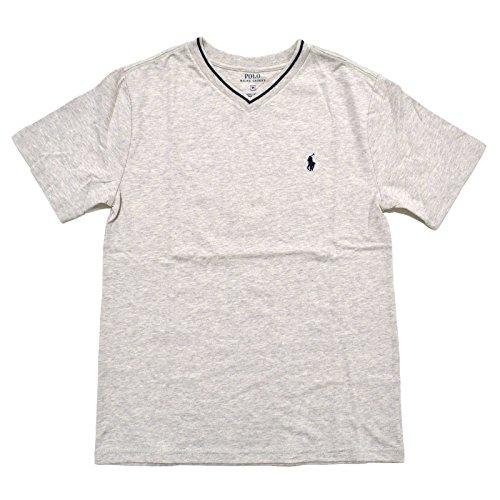 Polo Ralph Laruen Boys V-Neck T-Shirt (X-Large (18-20), Light Sport Heather Grey)
