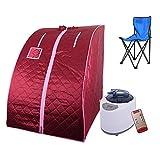 WeFun Zuhause Dampfsauna,1000W 220V Portables Dampfbad,Saunas SPA ,Rot