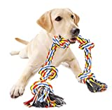Dog Rope Toys for Aggressive Chewers, Interactive Heavy Duty Dog Toys for Medium Large Dogs, Tough Twisted Rope Toy with 5 Knots