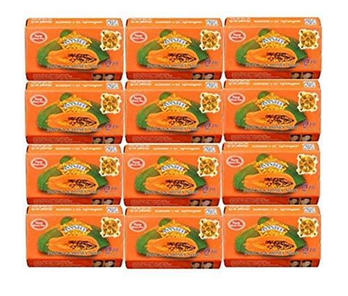 Asantee Thai Papaya Herbal Skin Whitening Soap 125g (Pack of 12]