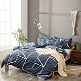 BH-JJSMGS Leichte Polyesterfaser-Bettwäsche, Bettbezug und Kissenbezug aus einfachem geometrischem Leinen, grau 200x230