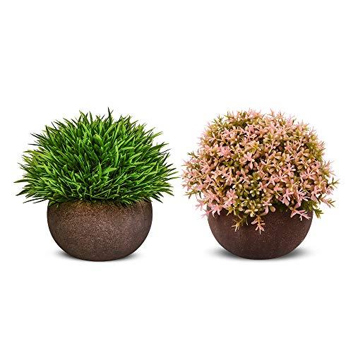 Nomisty Kunstpflanze,Künstliche Blumen Bonsai Kunstpflanze mit grauen Topf,Künstliche Grün Gras für Wohnzimmer Balkon Badezimmer Büro Hochzeit Dekorativ, Exquisite New House Geschenk