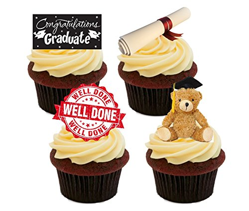 Goed gedaan/Gefeliciteerd Afstuderen, Eetbare Cake Decoraties - Stand-up Wafer Cupcake Toppers